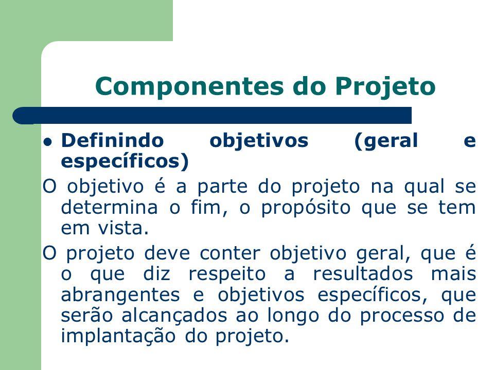 Componentes do Projeto Definindo objetivos (geral e específicos) O objetivo é a parte do projeto na qual se determina o fim, o propósito que se tem em