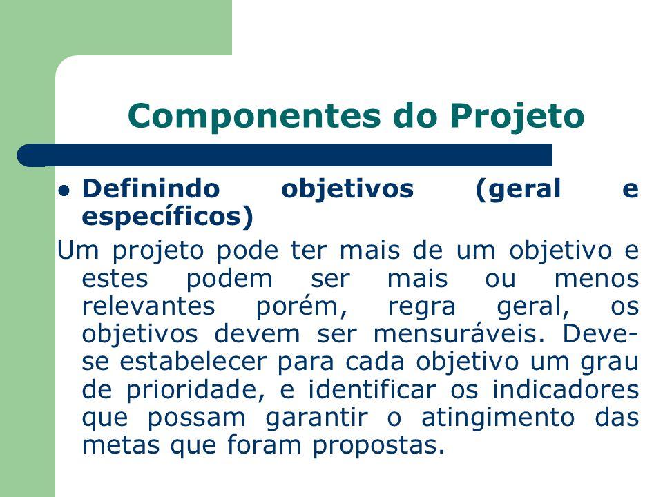 Componentes do Projeto Definindo objetivos (geral e específicos) Um projeto pode ter mais de um objetivo e estes podem ser mais ou menos relevantes porém, regra geral, os objetivos devem ser mensuráveis.