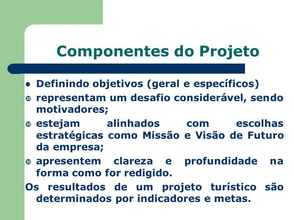 Componentes do Projeto Definindo objetivos (geral e específicos)  representam um desafio considerável, sendo motivadores;  estejam alinhados com escolhas estratégicas como Missão e Visão de Futuro da empresa;  apresentem clareza e profundidade na forma como for redigido.