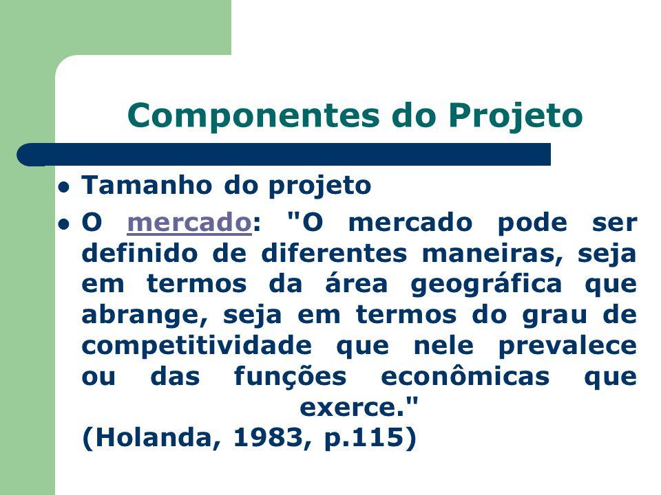 Componentes do Projeto Tamanho do projeto O mercado: O mercado pode ser definido de diferentes maneiras, seja em termos da área geográfica que abrange, seja em termos do grau de competitividade que nele prevalece ou das funções econômicas que exerce. (Holanda, 1983, p.115)mercado