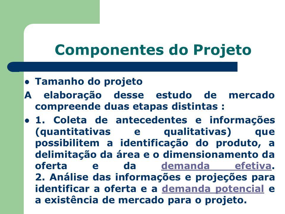 Componentes do Projeto Tamanho do projeto A elaboração desse estudo de mercado compreende duas etapas distintas : 1. Coleta de antecedentes e informaç