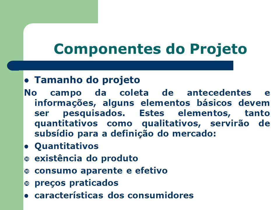 Componentes do Projeto Tamanho do projeto No campo da coleta de antecedentes e informações, alguns elementos básicos devem ser pesquisados. Estes elem