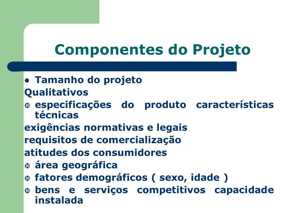 Componentes do Projeto Tamanho do projeto Qualitativos  especificações do produto características técnicas exigências normativas e legais requisitos