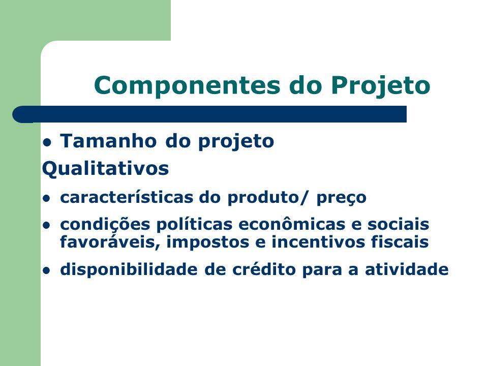 Componentes do Projeto Tamanho do projeto Qualitativos características do produto/ preço condições políticas econômicas e sociais favoráveis, impostos