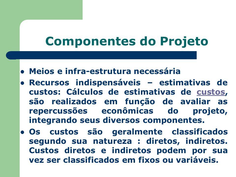 Componentes do Projeto Meios e infra-estrutura necessária Recursos indispensáveis – estimativas de custos: Cálculos de estimativas de custos, são real