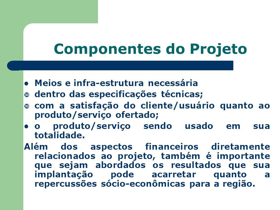 Componentes do Projeto Meios e infra-estrutura necessária  dentro das especificações técnicas;  com a satisfação do cliente/usuário quanto ao produt