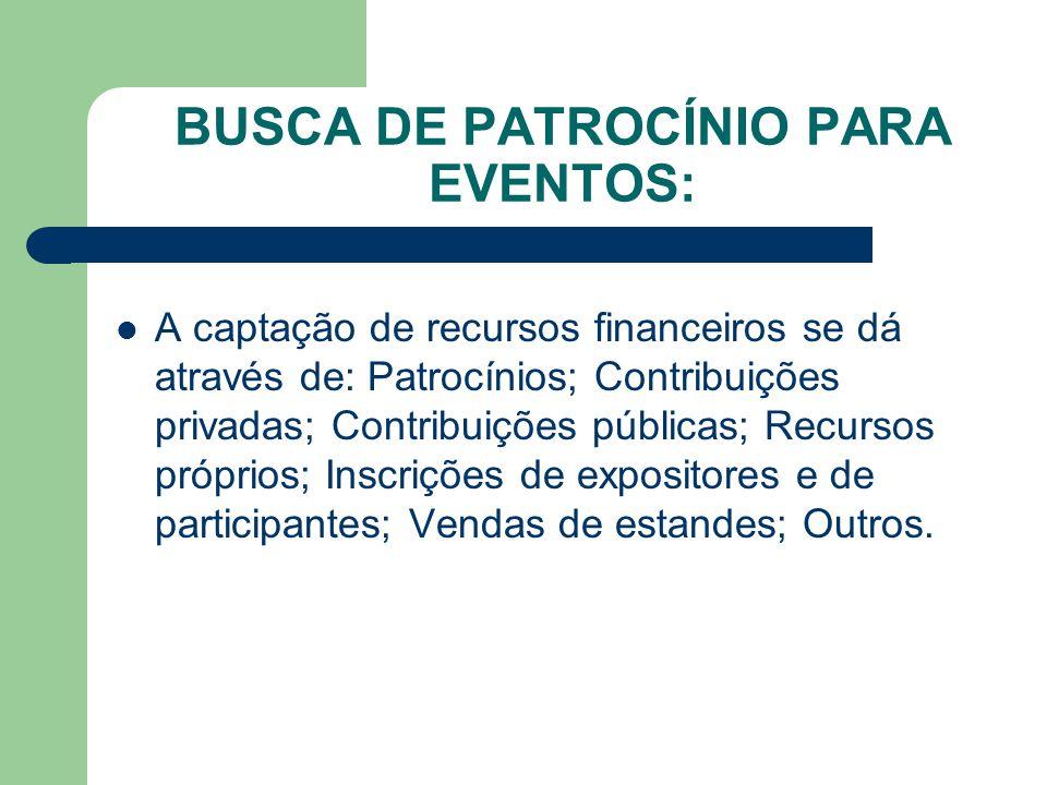 BUSCA DE PATROCÍNIO PARA EVENTOS: A captação de recursos financeiros se dá através de: Patrocínios; Contribuições privadas; Contribuições públicas; Recursos próprios; Inscrições de expositores e de participantes; Vendas de estandes; Outros.