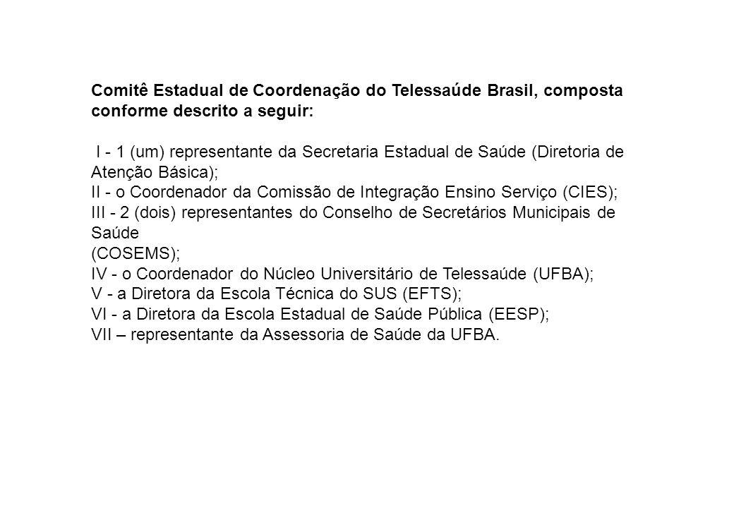 Comitê Estadual de Coordenação do Telessaúde Brasil, composta conforme descrito a seguir: I - 1 (um) representante da Secretaria Estadual de Saúde (Di