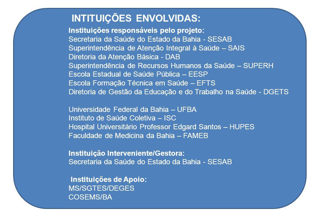 Instituições responsáveis pelo projeto: Secretaria da Saúde do Estado da Bahia - SESAB Superintendência de Atenção Integral à Saúde – SAIS Diretoria d