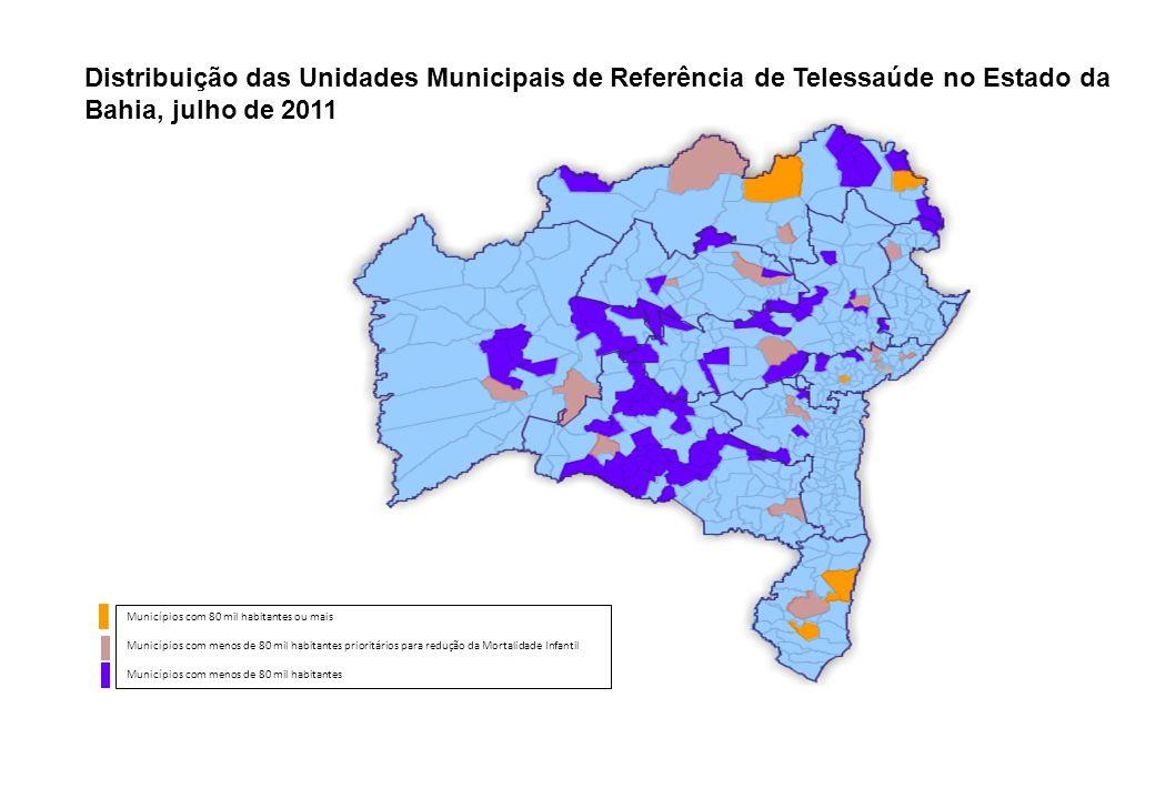Distribuição das Unidades Municipais de Referência de Telessaúde no Estado da Bahia, julho de 2011 Municípios com 80 mil habitantes ou mais Municípios