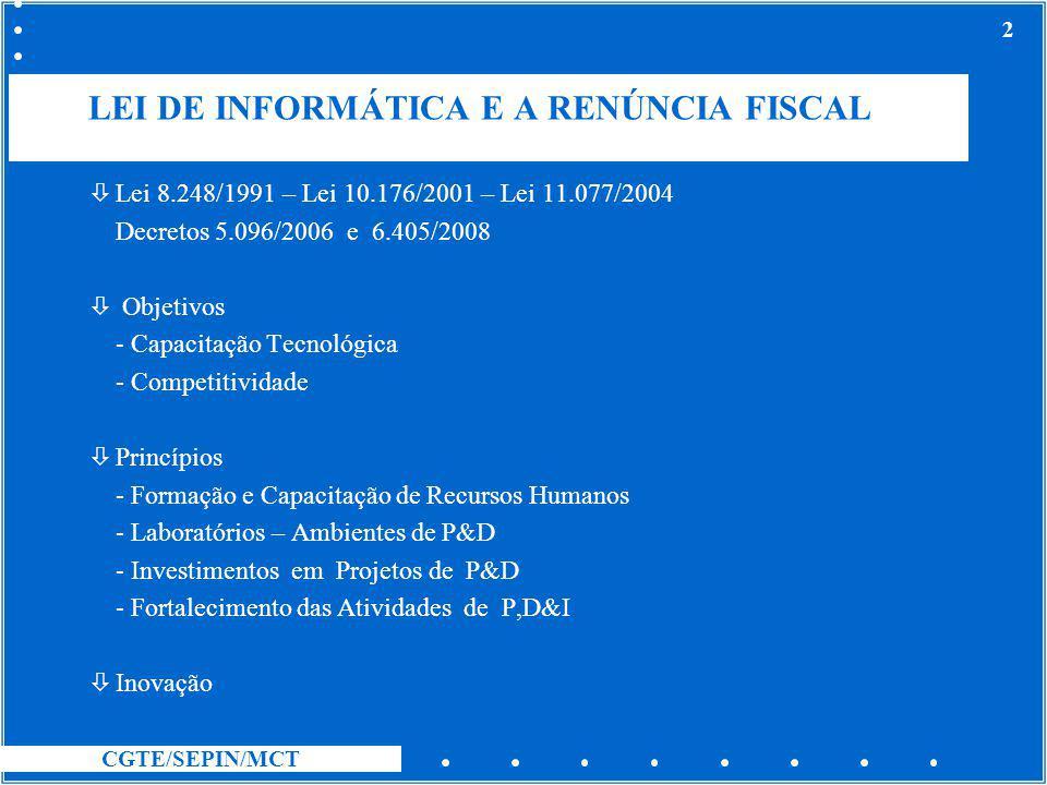 CGTE/SEPIN/MCT 2 LEI DE INFORMÁTICA E A RENÚNCIA FISCAL òLei 8.248/1991 – Lei 10.176/2001 – Lei 11.077/2004 Decretos 5.096/2006 e 6.405/2008 ò Objetiv