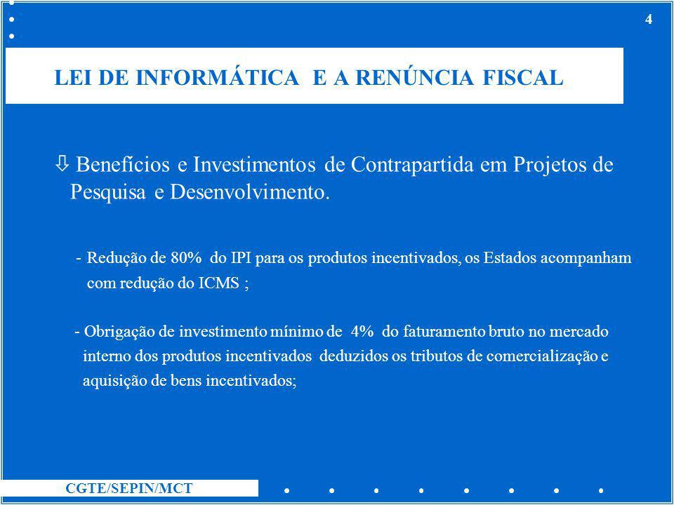 CGTE/SEPIN/MCT 4 LEI DE INFORMÁTICA E A RENÚNCIA FISCAL ò Benefícios e Investimentos de Contrapartida em Projetos de Pesquisa e Desenvolvimento. - Red