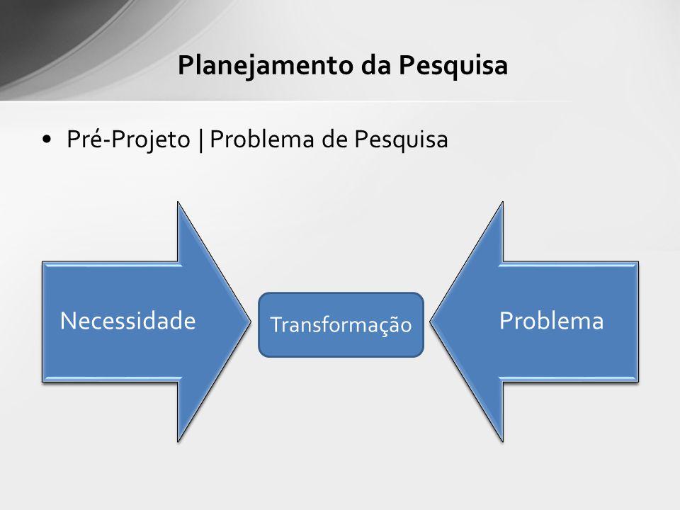 Pré-Projeto | Problema de Pesquisa Planejamento da Pesquisa NecessidadeProblema Transformação