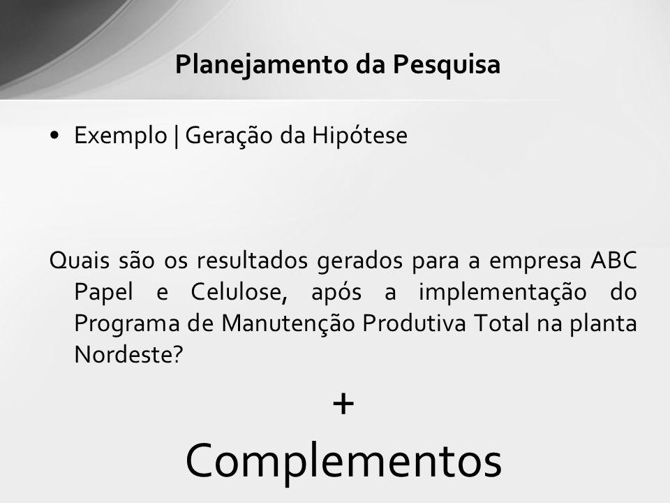 Exemplo | Geração da Hipótese Quais são os resultados gerados para a empresa ABC Papel e Celulose, após a implementação do Programa de Manutenção Produtiva Total na planta Nordeste.