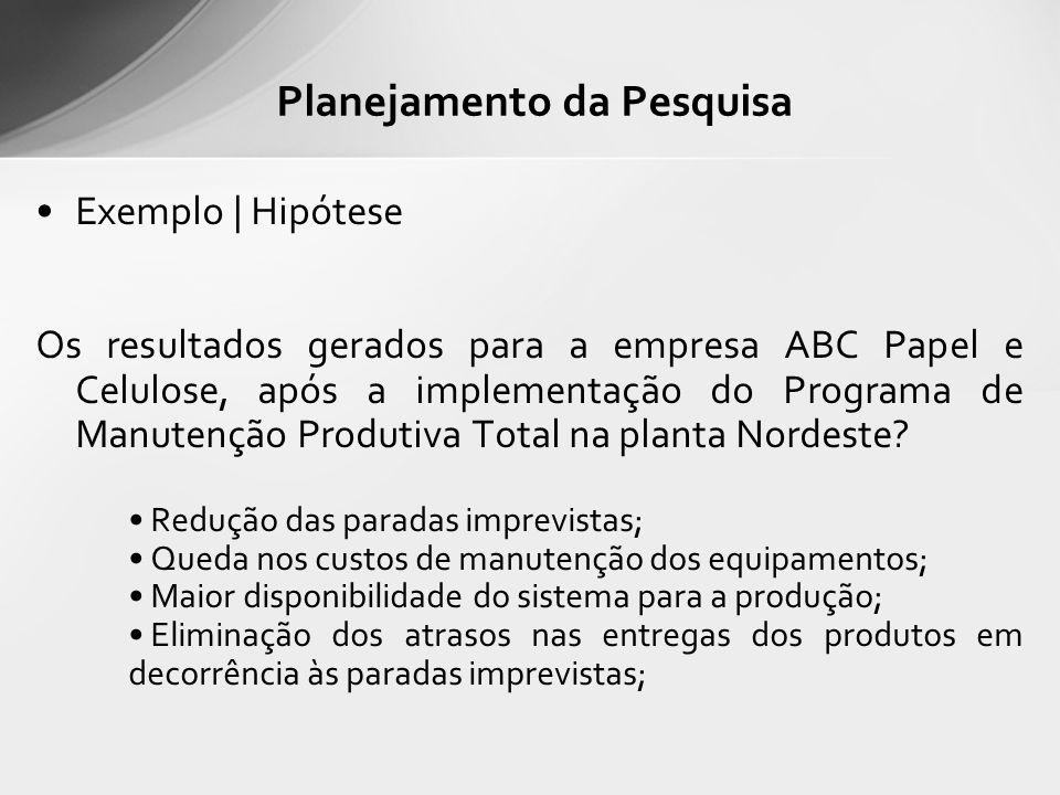 Exemplo | Hipótese Os resultados gerados para a empresa ABC Papel e Celulose, após a implementação do Programa de Manutenção Produtiva Total na planta Nordeste.