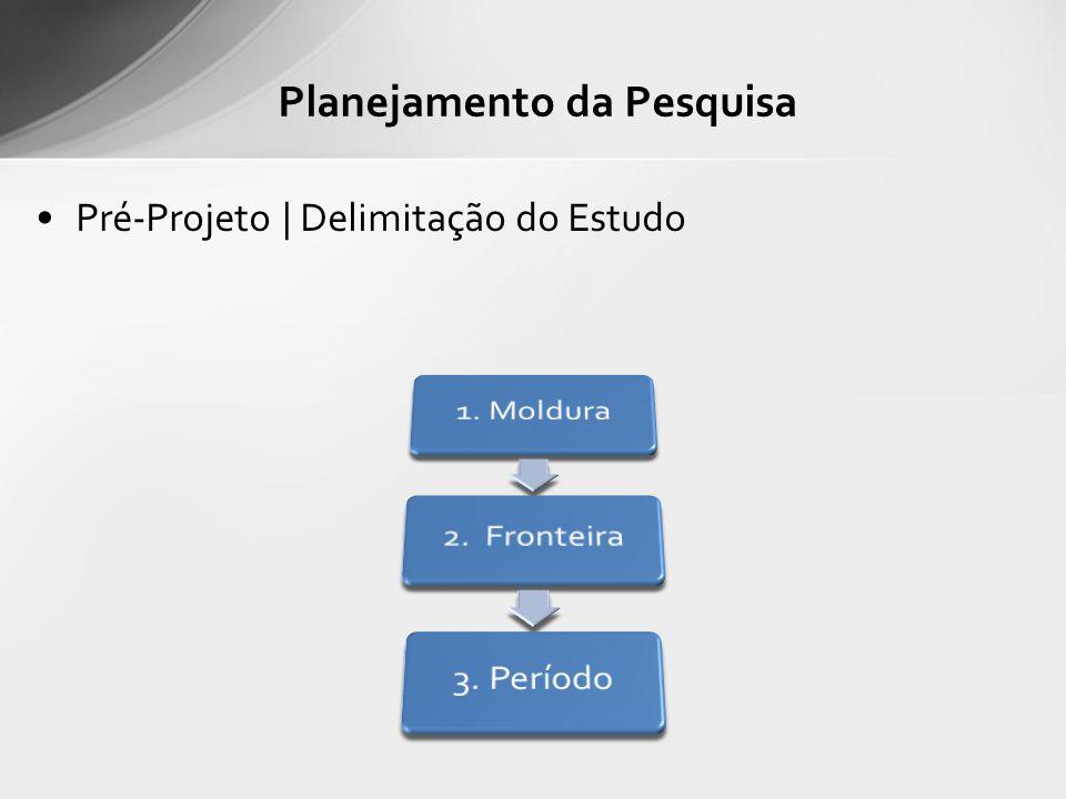 Pré-Projeto | Delimitação do Estudo Planejamento da Pesquisa