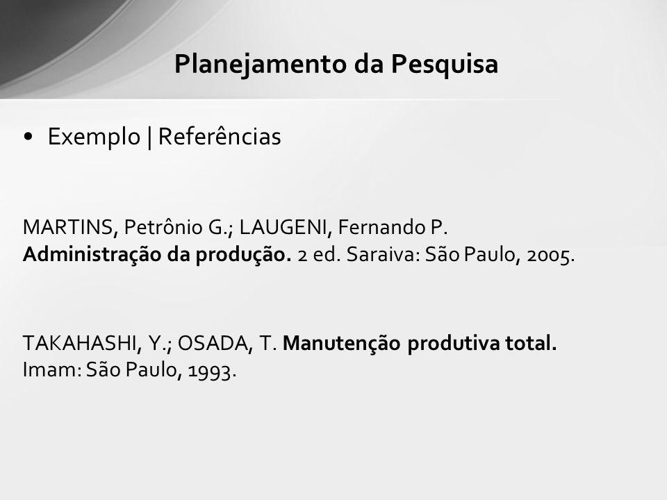 Exemplo | Referências MARTINS, Petrônio G.; LAUGENI, Fernando P. Administração da produção. 2 ed. Saraiva: São Paulo, 2005. TAKAHASHI, Y.; OSADA, T. M