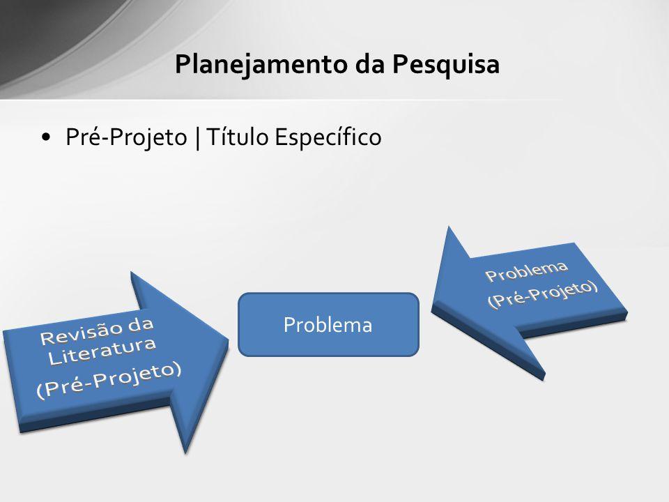 Pré-Projeto | Título Específico Planejamento da Pesquisa Problema