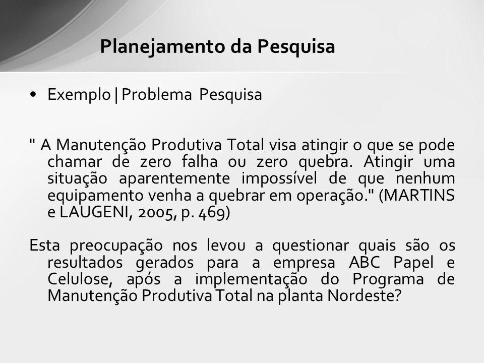 Exemplo | Problema Pesquisa A Manutenção Produtiva Total visa atingir o que se pode chamar de zero falha ou zero quebra.