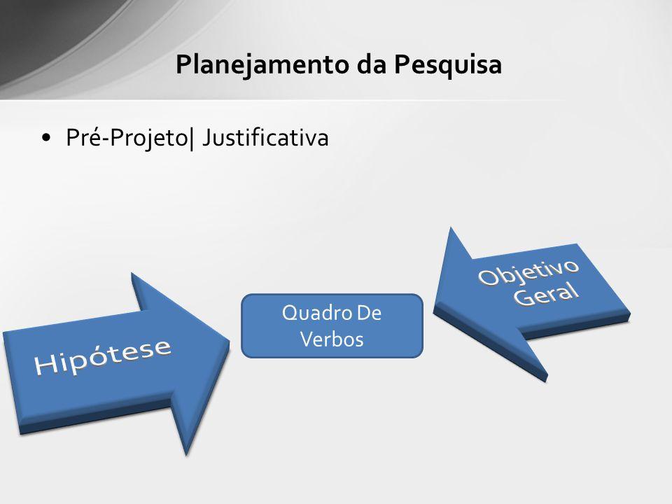 Pré-Projeto| Justificativa Planejamento da Pesquisa Quadro De Verbos