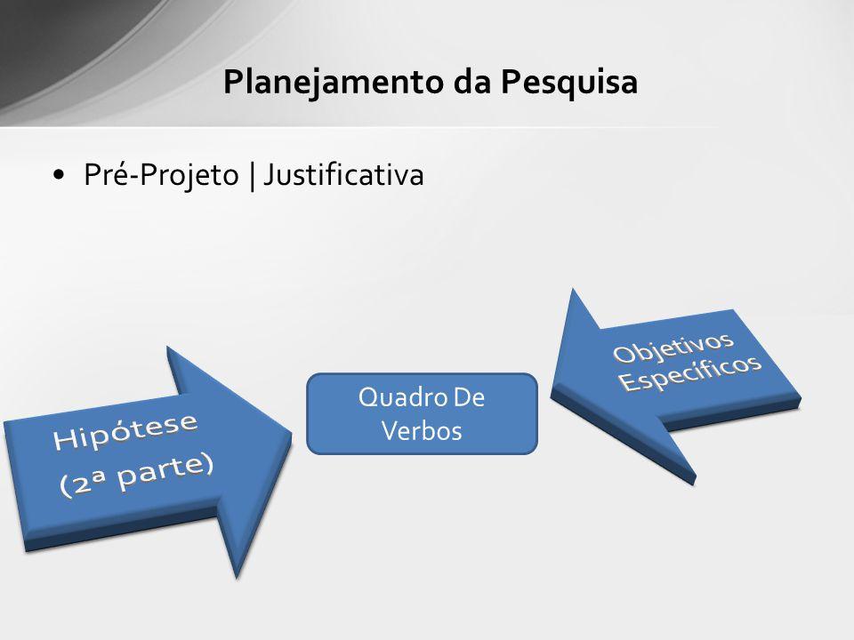 Pré-Projeto | Justificativa Planejamento da Pesquisa Quadro De Verbos