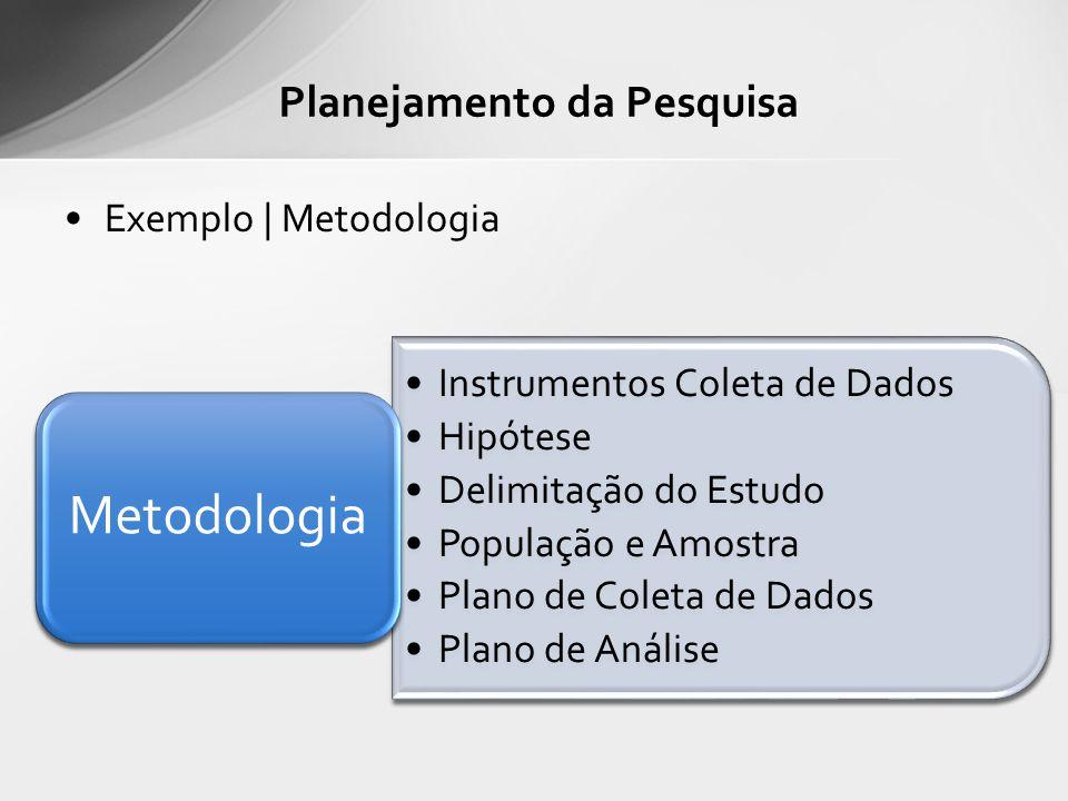 Exemplo | Metodologia Planejamento da Pesquisa Instrumentos Coleta de Dados Hipótese Delimitação do Estudo População e Amostra Plano de Coleta de Dado