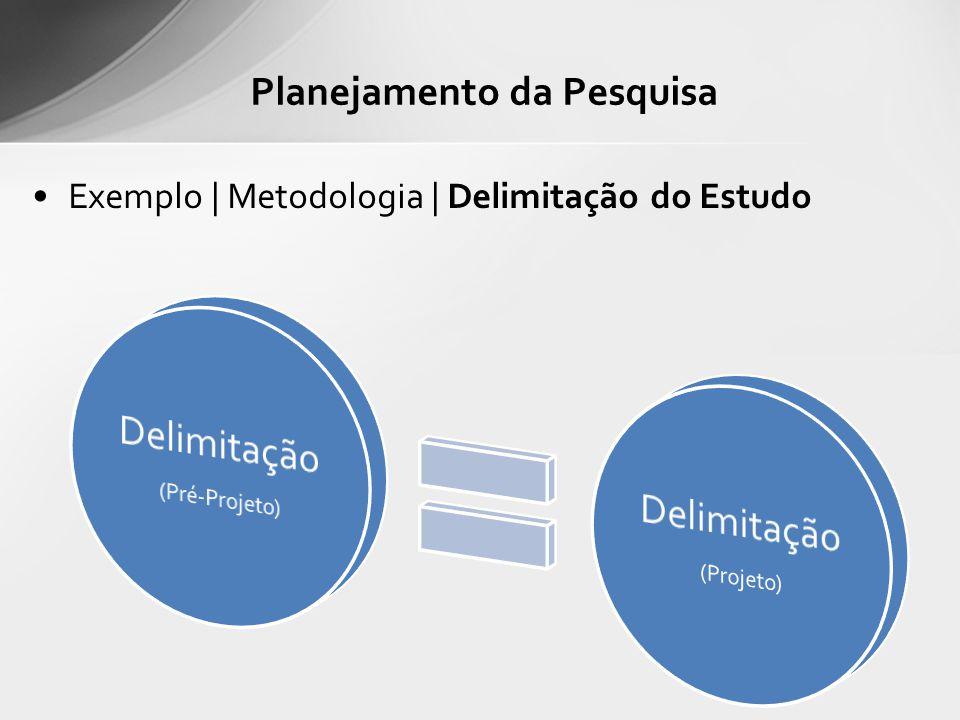 Exemplo | Metodologia | Delimitação do Estudo Planejamento da Pesquisa