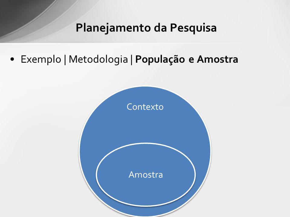 Exemplo | Metodologia | População e Amostra Planejamento da Pesquisa Contexto Amostra