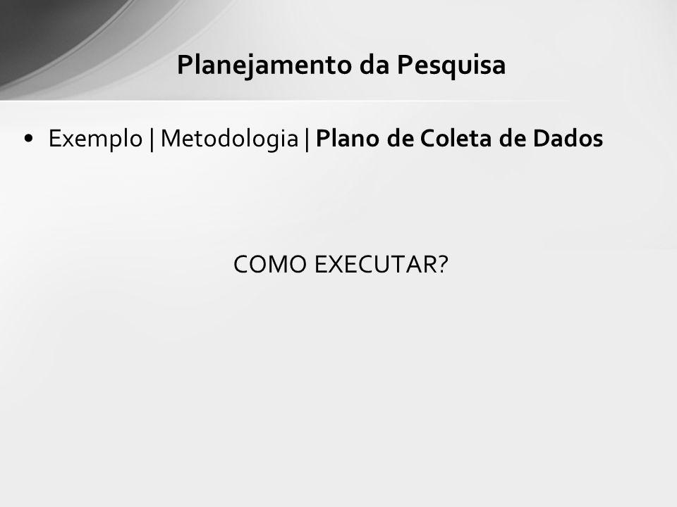Exemplo | Metodologia | Plano de Coleta de Dados COMO EXECUTAR? Planejamento da Pesquisa