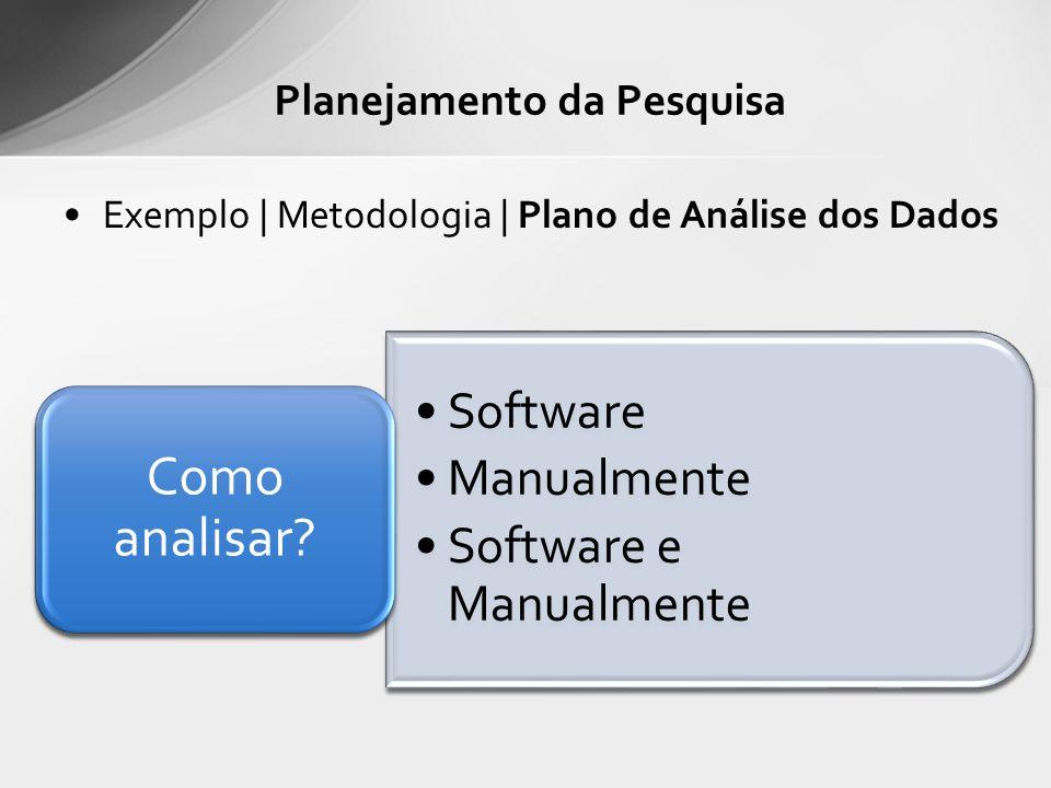 Exemplo | Metodologia | Plano de Análise dos Dados Planejamento da Pesquisa Software Manualmente Software e Manualmente Como analisar?