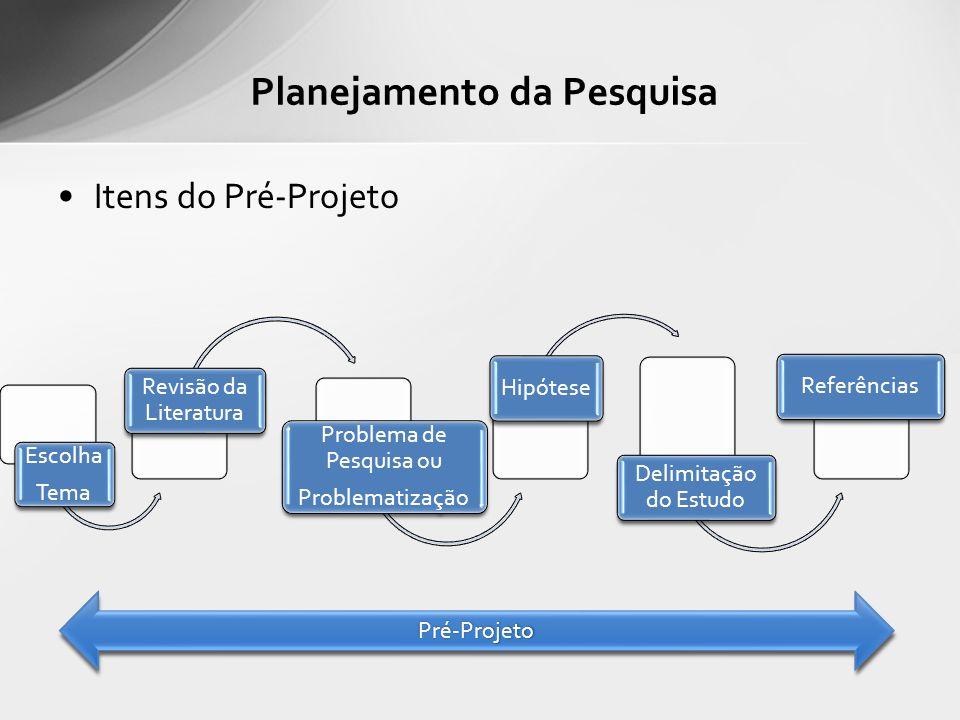 Itens do Pré-Projeto Planejamento da Pesquisa Escolha Tema Revisão da Literatura Problema de Pesquisa ou Problematização Hipótese Delimitação do Estudo Referências Pré-ProjetoPré-Projeto