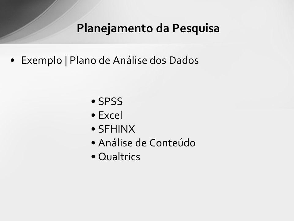 Exemplo | Plano de Análise dos Dados SPSS Excel SFHINX Análise de Conteúdo Qualtrics Planejamento da Pesquisa