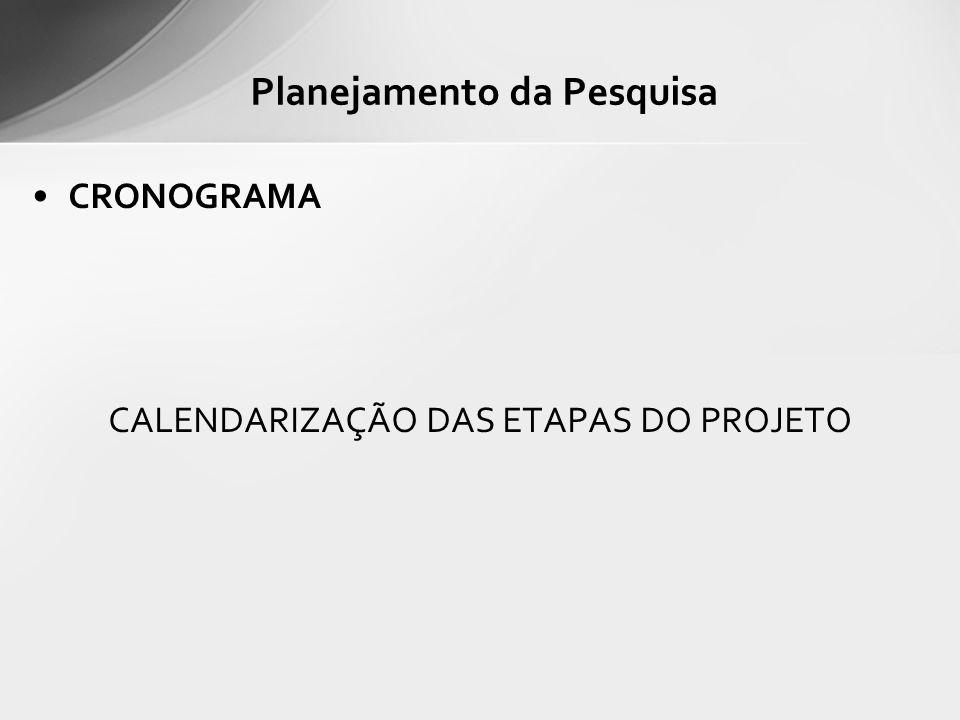 CRONOGRAMA CALENDARIZAÇÃO DAS ETAPAS DO PROJETO Planejamento da Pesquisa
