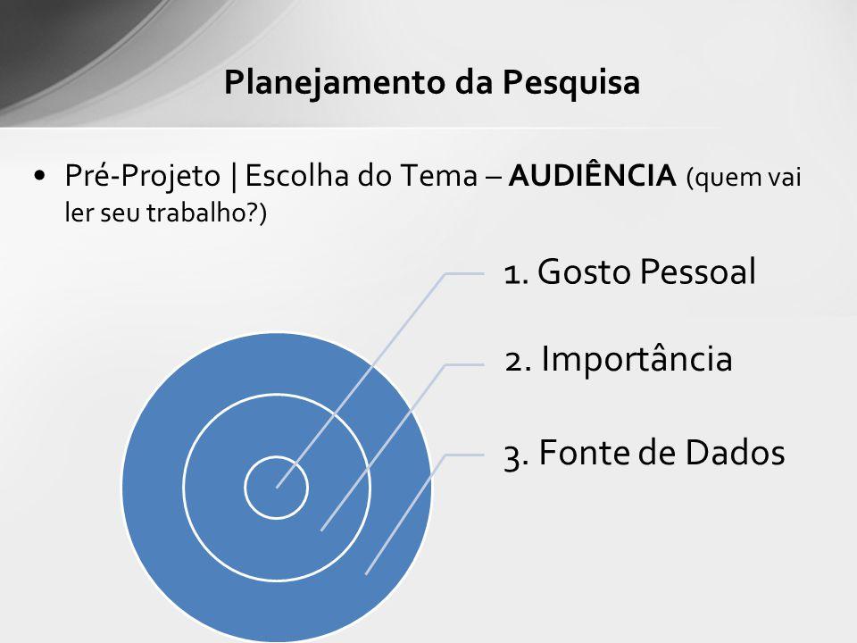 Pré-Projeto | Escolha do Tema – AUDIÊNCIA (quem vai ler seu trabalho?) Planejamento da Pesquisa 1. Gosto Pessoal 2. Importância 3. Fonte de Dados