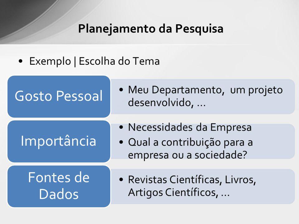 Exemplo | Escolha do Tema Planejamento da Pesquisa Meu Departamento, um projeto desenvolvido,... Gosto Pessoal Necessidades da Empresa Qual a contribu