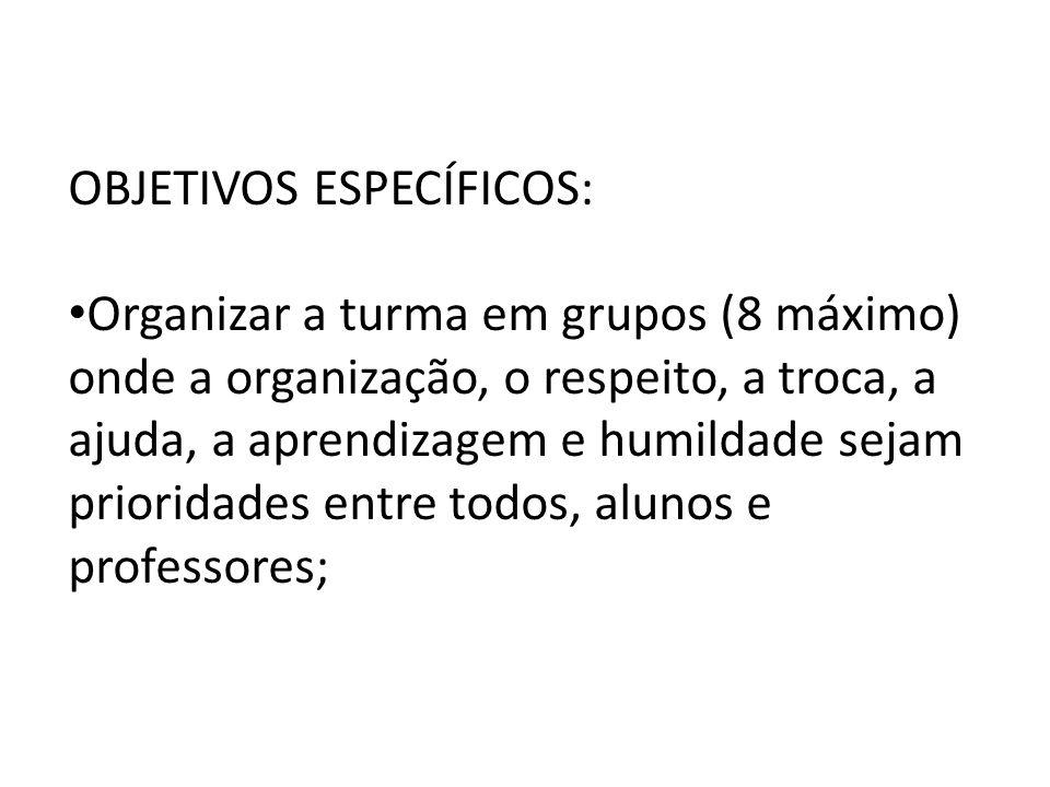 OBJETIVOS ESPECÍFICOS: Organizar a turma em grupos (8 máximo) onde a organização, o respeito, a troca, a ajuda, a aprendizagem e humildade sejam prior