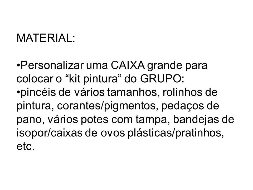"""MATERIAL: Personalizar uma CAIXA grande para colocar o """"kit pintura"""" do GRUPO: pincéis de vários tamanhos, rolinhos de pintura, corantes/pigmentos, pe"""