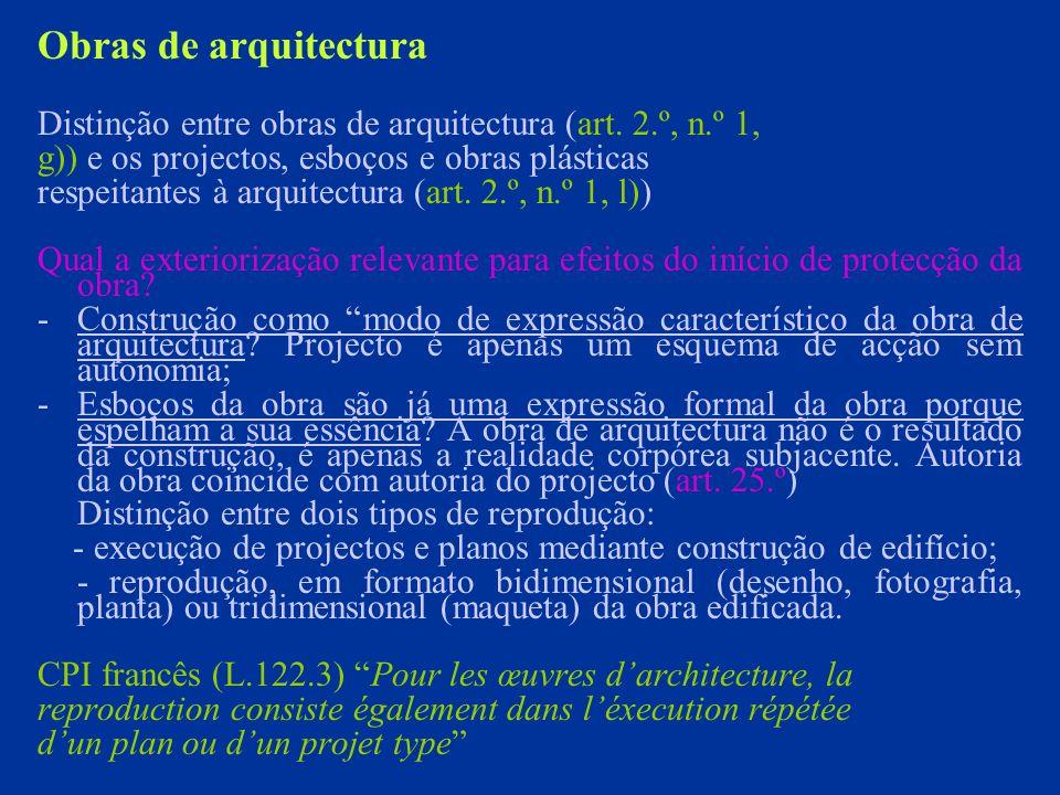 Obras de arquitectura Distinção entre obras de arquitectura (art.