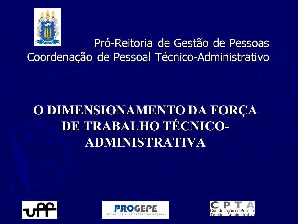 Pró-Reitoria de Gestão de Pessoas Coordenação de Pessoal Técnico-Administrativo O DIMENSIONAMENTO DA FORÇA DE TRABALHO TÉCNICO- ADMINISTRATIVA