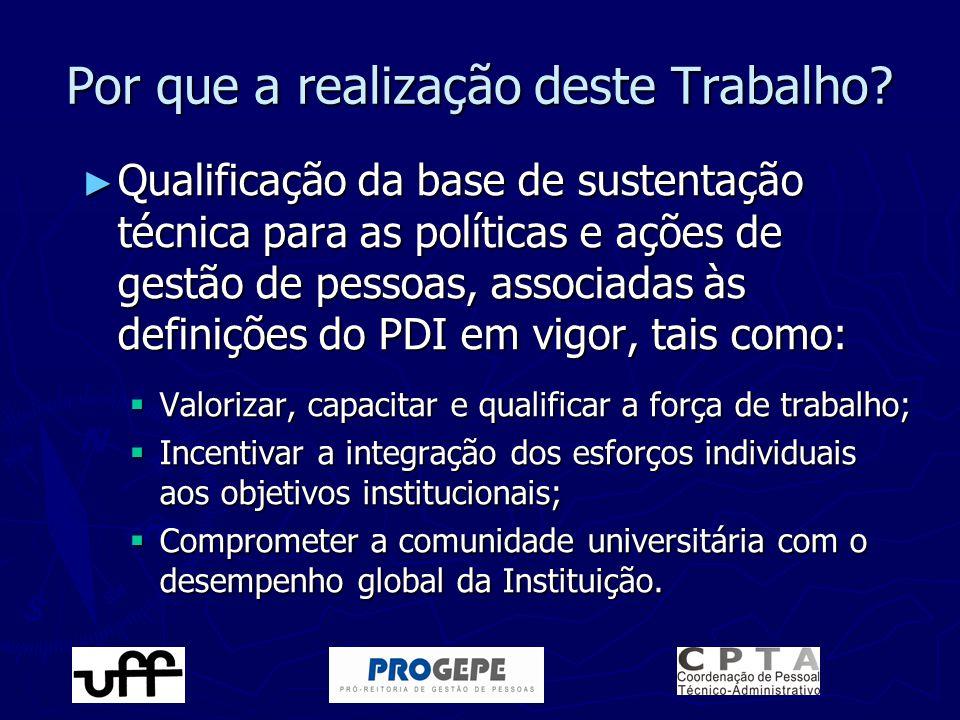 ► Qualificação da base de sustentação técnica para as políticas e ações de gestão de pessoas, associadas às definições do PDI em vigor, tais como:  V