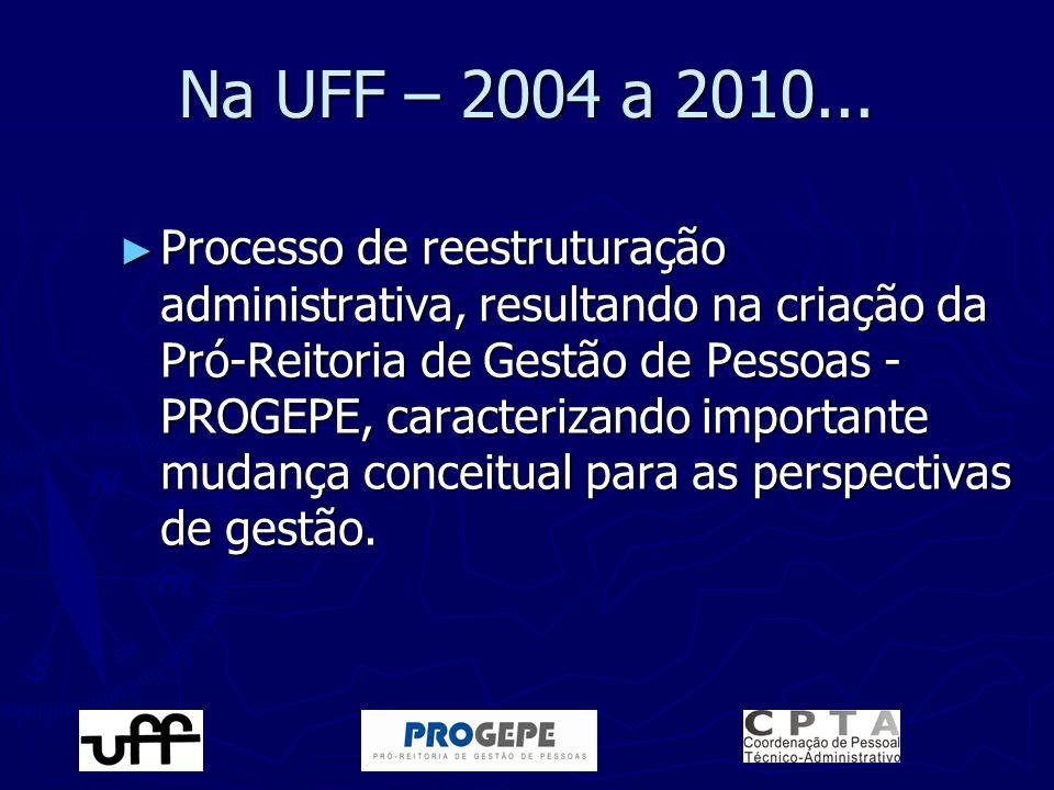 ► Processo de reestruturação administrativa, resultando na criação da Pró-Reitoria de Gestão de Pessoas - PROGEPE, caracterizando importante mudança c
