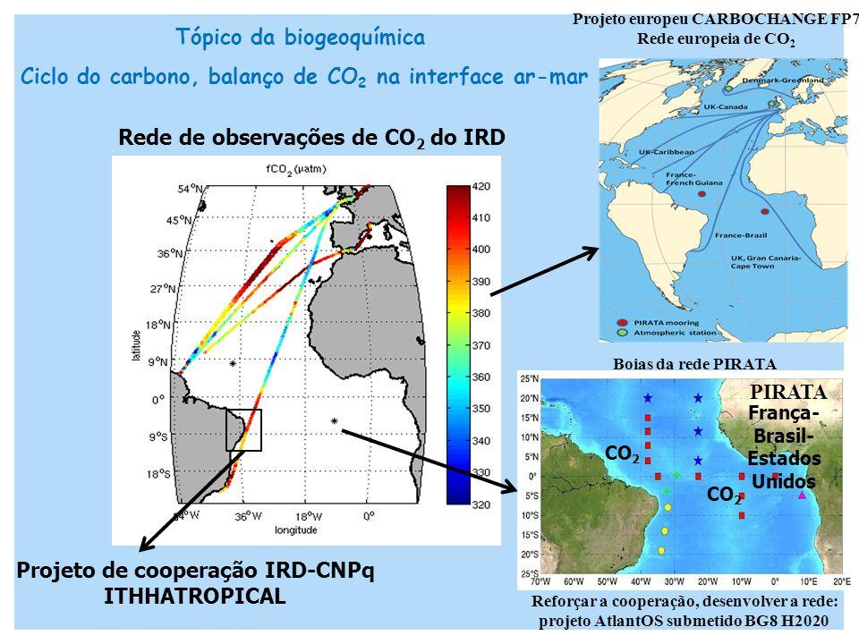 PIRATA França- Brasil- Estados Unidos Projeto europeu CARBOCHANGE FP7 Rede europeia de CO 2 CO 2 Rede de observações de CO 2 do IRD Boias da rede PIRATA Tópico da biogeoquímica Ciclo do carbono, balanço de CO 2 na interface ar-mar Projeto de cooperação IRD-CNPq ITHHATROPICAL Reforçar a cooperação, desenvolver a rede: projeto AtlantOS submetido BG8 H2020