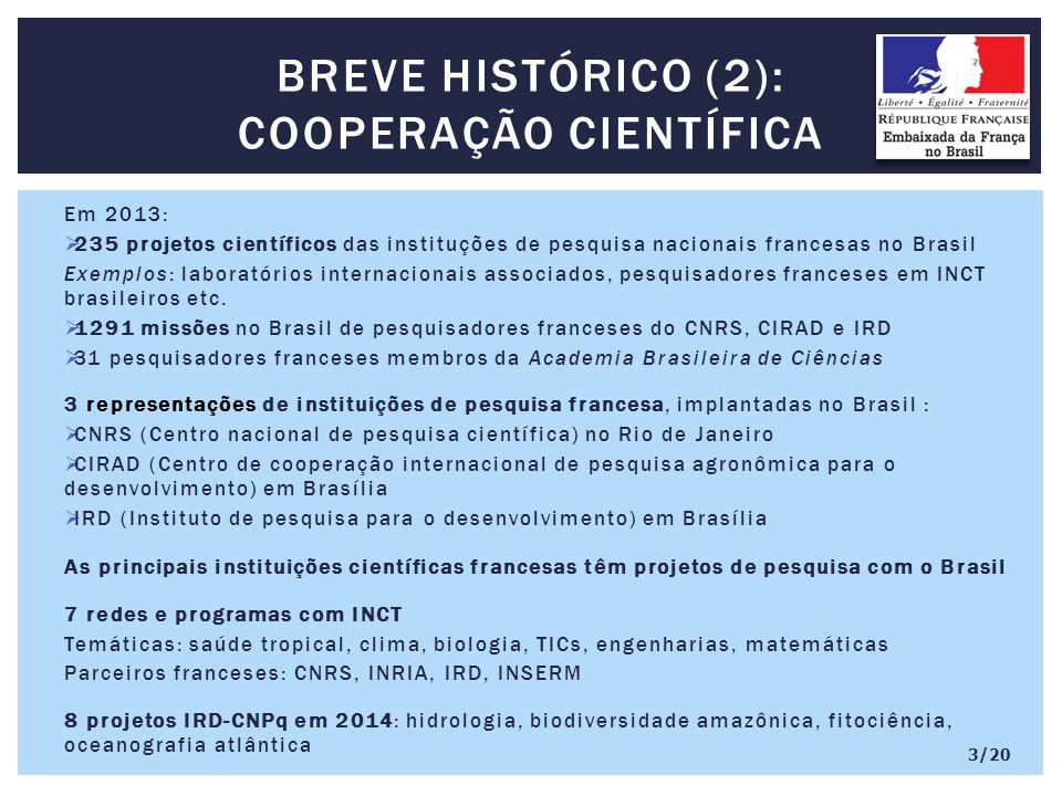 Em 2013:  235 projetos científicos das instituções de pesquisa nacionais francesas no Brasil Exemplos: laboratórios internacionais associados, pesquisadores franceses em INCT brasileiros etc.