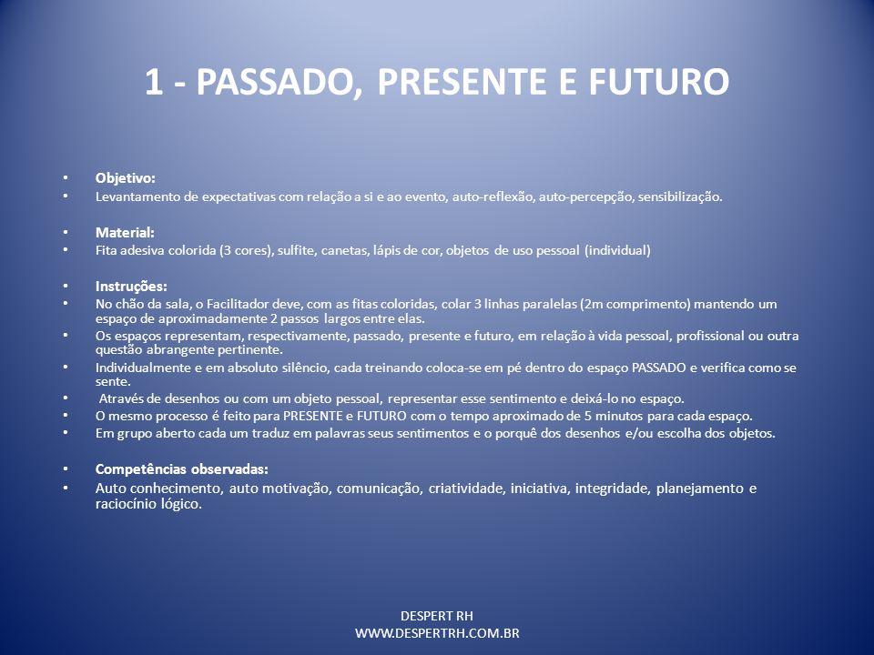 DESPERT RH WWW.DESPERTRH.COM.BR 1 - PASSADO, PRESENTE E FUTURO Objetivo: Levantamento de expectativas com relação a si e ao evento, auto-reflexão, aut