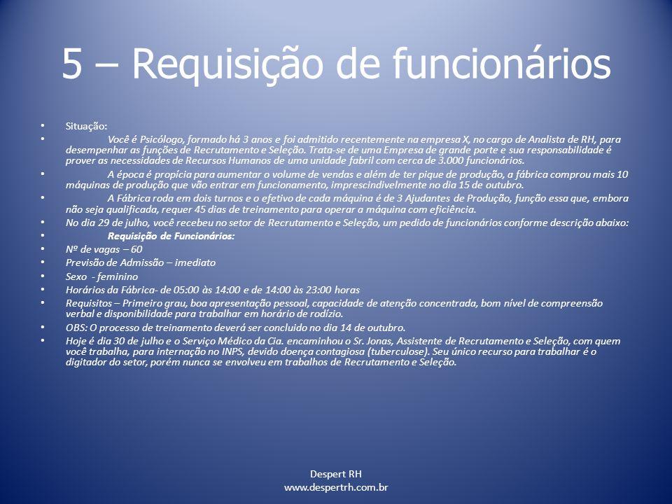 Despert RH www.despertrh.com.br 5 – Requisição de funcionários Situação: Você é Psicólogo, formado há 3 anos e foi admitido recentemente na empresa X,