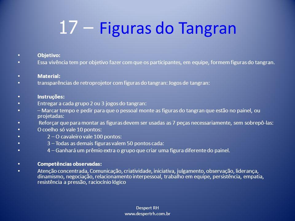Despert RH www.despertrh.com.br 17 – Figuras do Tangran Objetivo: Essa vivência tem por objetivo fazer com que os participantes, em equipe, formem fig