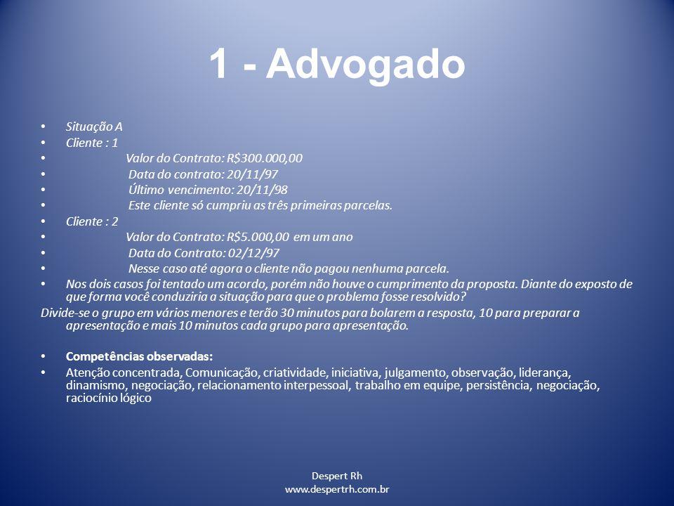 Despert Rh www.despertrh.com.br 1 - Advogado Situação A Cliente : 1 Valor do Contrato: R$300.000,00 Data do contrato: 20/11/97 Último vencimento: 20/1