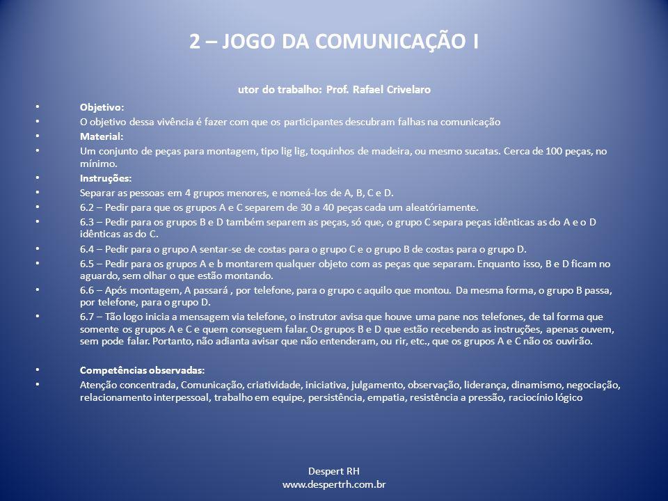 Despert RH www.despertrh.com.br 2 – JOGO DA COMUNICAÇÃO I utor do trabalho: Prof. Rafael Crivelaro Objetivo: O objetivo dessa vivência é fazer com que