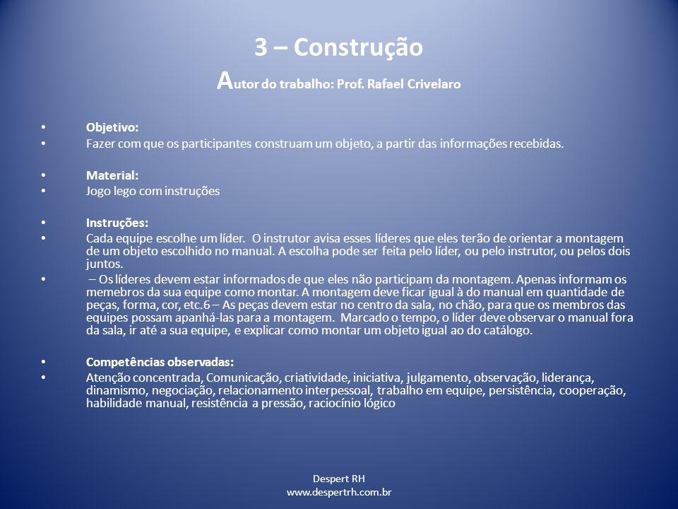 Despert RH www.despertrh.com.br 3 – Construção A utor do trabalho: Prof. Rafael Crivelaro Objetivo: Fazer com que os participantes construam um objeto