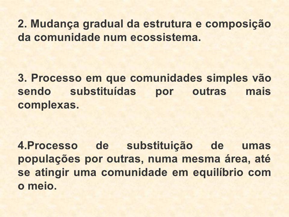 2. Mudança gradual da estrutura e composição da comunidade num ecossistema. 3. Processo em que comunidades simples vão sendo substituídas por outras m